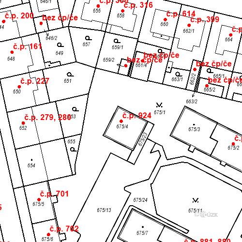 Katastrální mapa Stavební objekt Lobzy 924, Plzeň