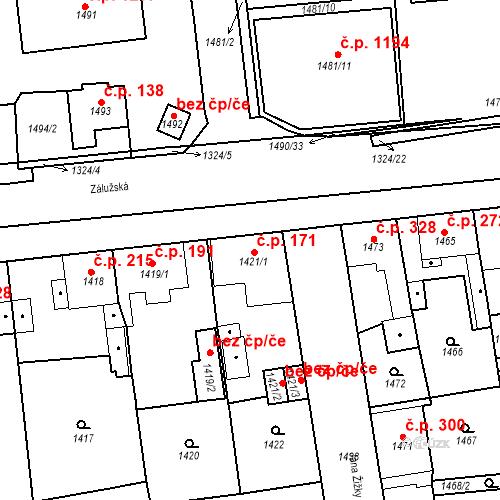 Katastrální mapa Stavební objekt Třemošná 171, Třemošná