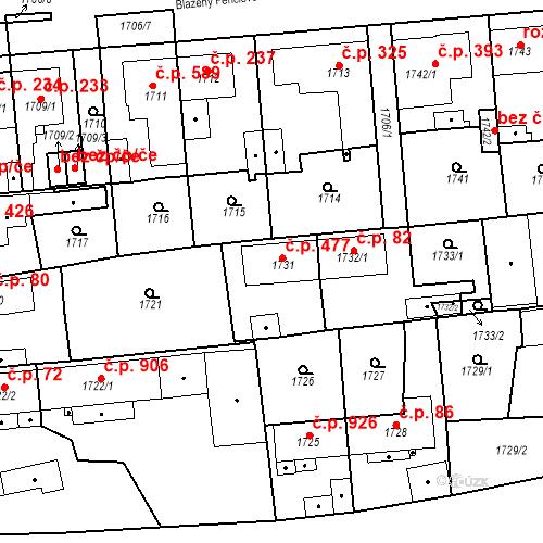 Katastrální mapa Stavební objekt Třemošná 477, Třemošná