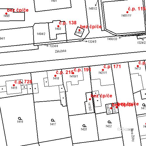Katastrální mapa Stavební objekt Třemošná 191, Třemošná