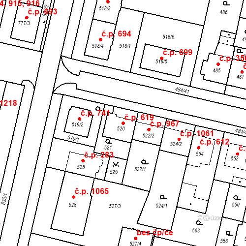 Katastrální mapa Stavební objekt Lobzy 619, Plzeň