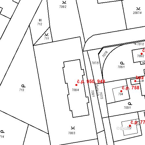 Katastrální mapa Stavební objekt Třemošná 949, 950, Třemošná