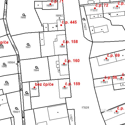 Katastrální mapa Stavební objekt Třemošná 160, Třemošná