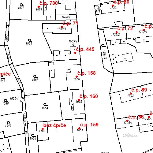 Katastrální mapa Stavební objekt Třemošná 158, Třemošná