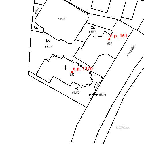 Katastrální mapa Stavební objekt Lobzy 1170, Plzeň