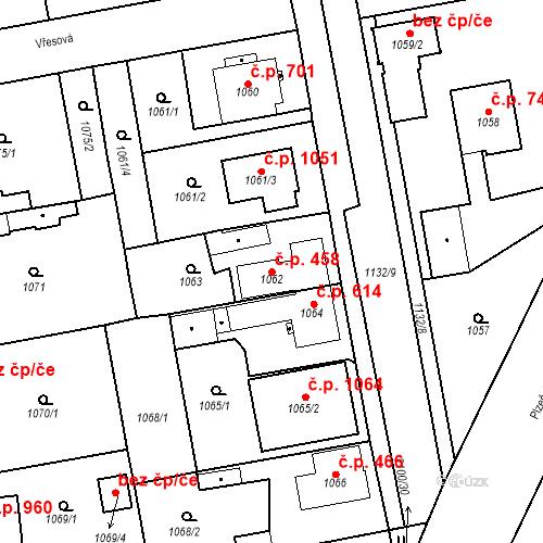 Katastrální mapa Stavební objekt Třemošná 458, Třemošná