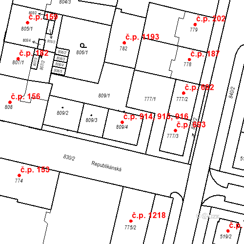 Katastrální mapa Stavební objekt Lobzy 914, 915, 916, Plzeň