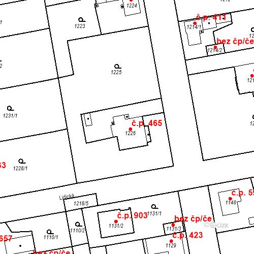 Katastrální mapa Stavební objekt Třemošná 465, Třemošná