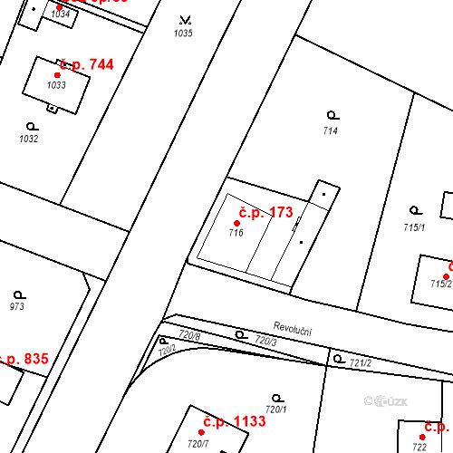 Katastrální mapa Stavební objekt Třemošná 173, Třemošná