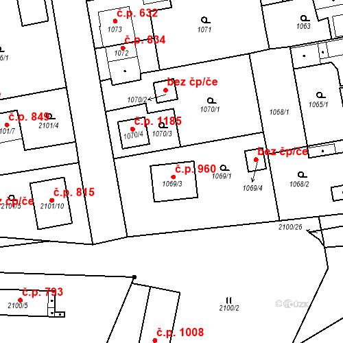Katastrální mapa Stavební objekt Třemošná 960, Třemošná