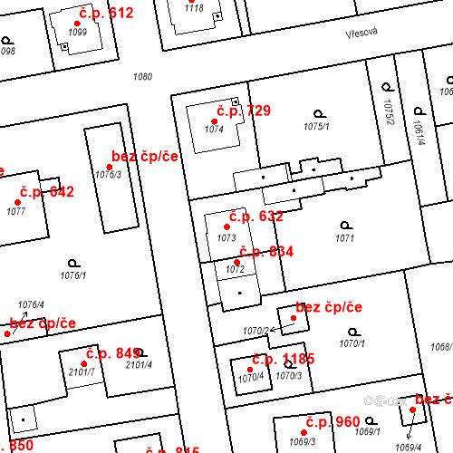 Katastrální mapa Stavební objekt Třemošná 632, Třemošná