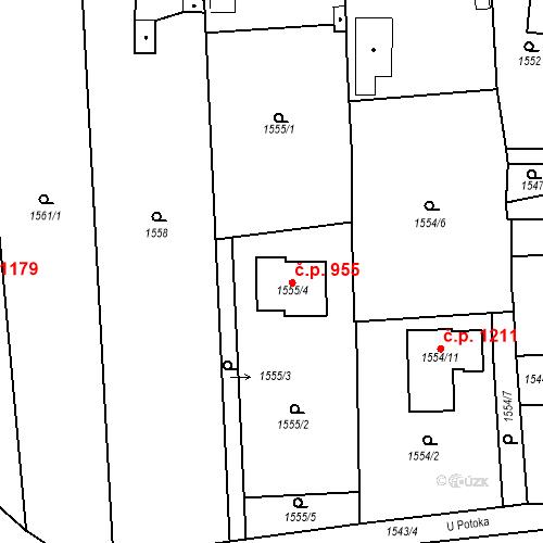 Katastrální mapa Stavební objekt Třemošná 955, Třemošná