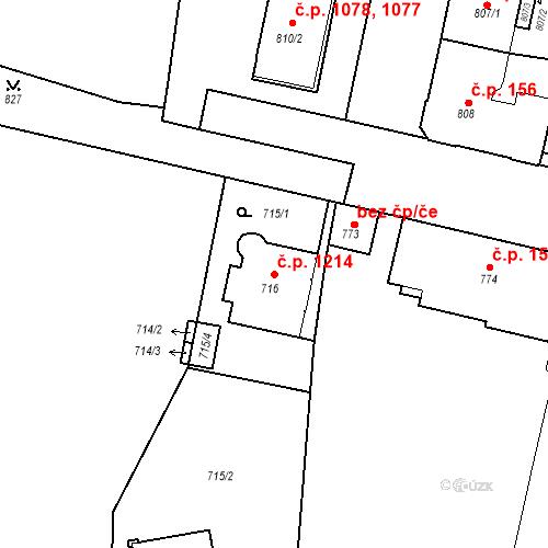 Katastrální mapa Stavební objekt Lobzy 1214, Plzeň