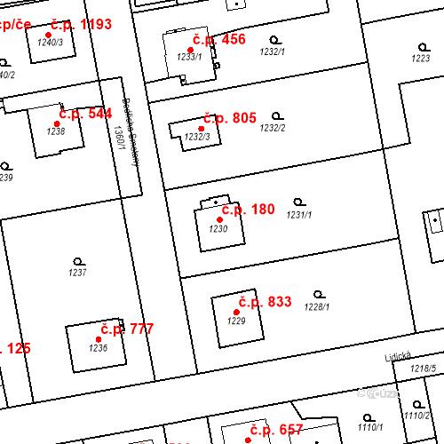Katastrální mapa Stavební objekt Třemošná 180, Třemošná
