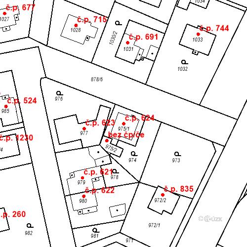 Katastrální mapa Stavební objekt Třemošná 624, Třemošná
