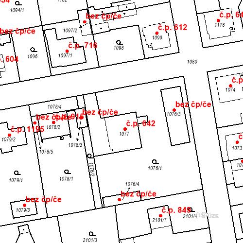 Katastrální mapa Stavební objekt Třemošná 642, Třemošná