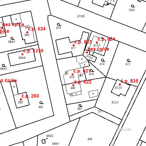 Katastrální mapa Stavební objekt Třemošná 621, Třemošná