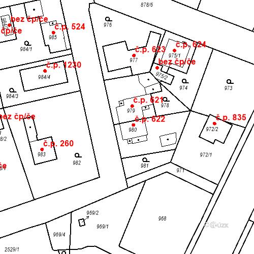 Katastrální mapa Stavební objekt Třemošná 622, Třemošná