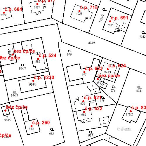 Katastrální mapa Stavební objekt Třemošná 623, Třemošná