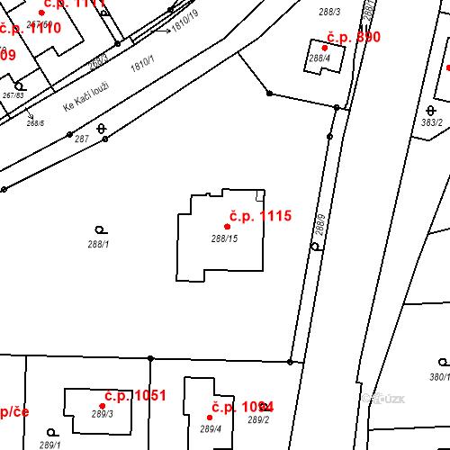 Katastrální mapa Stavební objekt Černice 1115, Plzeň