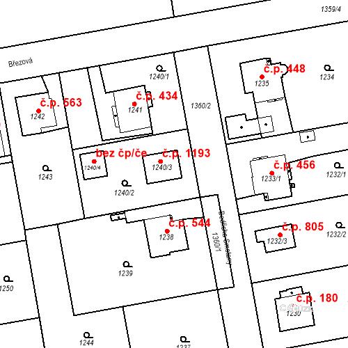 Katastrální mapa Stavební objekt Třemošná 1193, Třemošná
