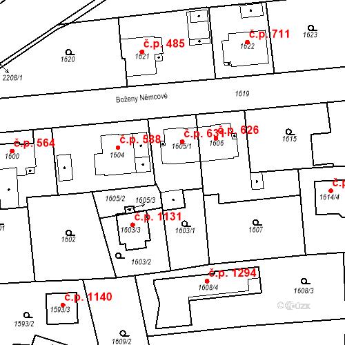 Katastrální mapa Stavební objekt Třemošná 631, Třemošná