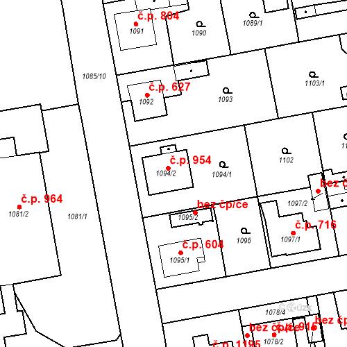 Katastrální mapa Stavební objekt Třemošná 954, Třemošná