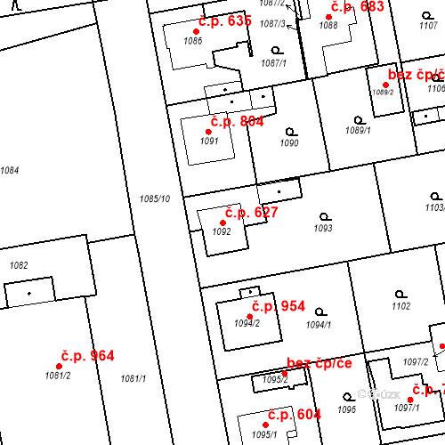 Katastrální mapa Stavební objekt Třemošná 627, Třemošná
