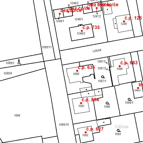 Katastrální mapa Stavební objekt Třemošná 635, Třemošná