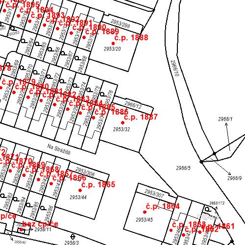 Katastrální mapa Stavební objekt Kadaň 1887, Kadaň