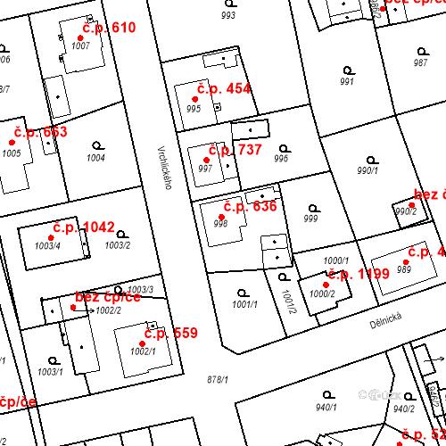 Katastrální mapa Stavební objekt Třemošná 636, Třemošná