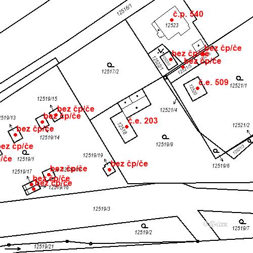 Katastrální mapa Stavební objekt Severní Předměstí 203, Plzeň