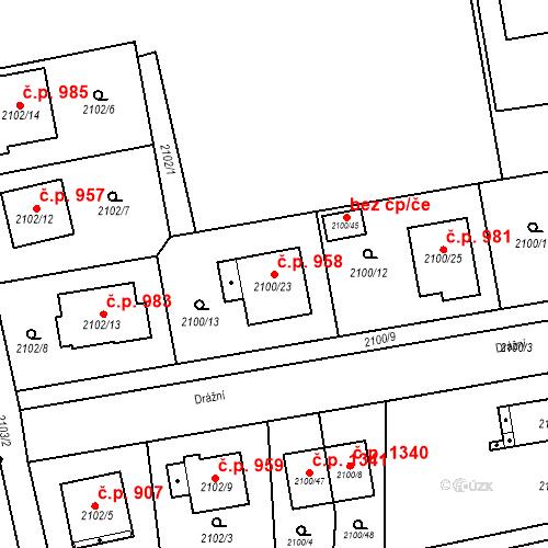 Katastrální mapa Stavební objekt Třemošná 958, Třemošná