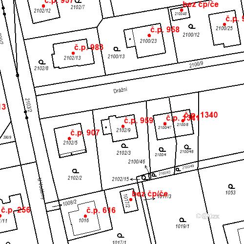Katastrální mapa Stavební objekt Třemošná 959, Třemošná