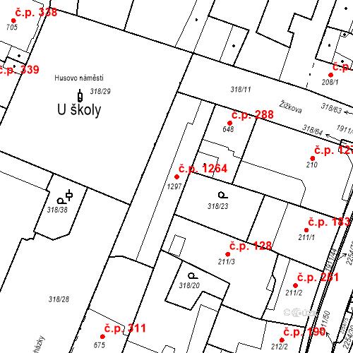 Katastrální mapa Stavební objekt Sušice II 1264, Sušice