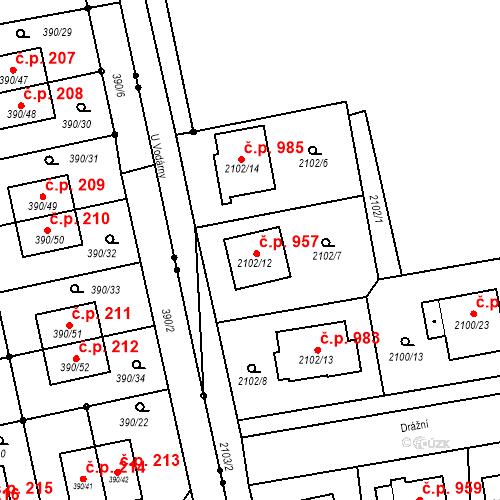 Katastrální mapa Stavební objekt Třemošná 957, Třemošná