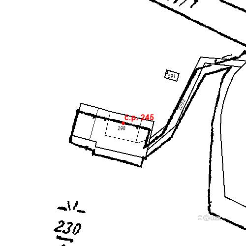 Katastrální mapa Stavební objekt Kašperské Hory 245, Kašperské Hory
