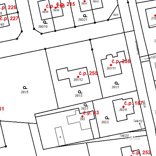 Katastrální mapa Stavební objekt Záluží 255, Třemošná