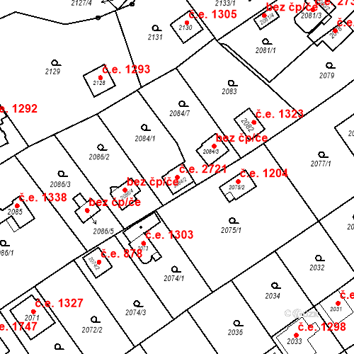 Katastrální mapa Stavební objekt Bolevec 2721, Plzeň