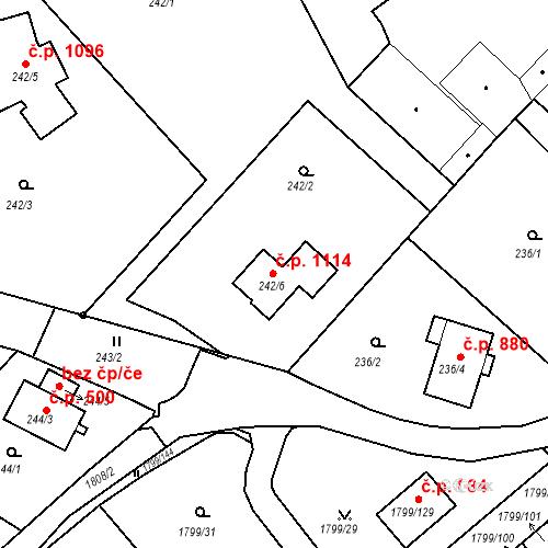 Katastrální mapa Stavební objekt Černice 1114, Plzeň