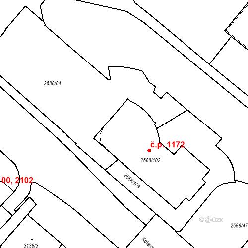 Katastrální mapa Stavební objekt Lobzy 1172, Plzeň