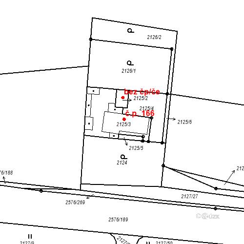 Katastrální mapa Stavební objekt Třemošná 166, Třemošná