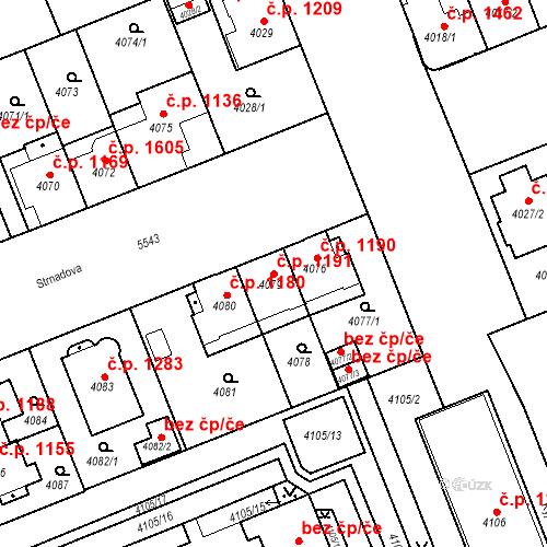 Katastrální mapa Stavební objekt Východní Předměstí 1191, Plzeň