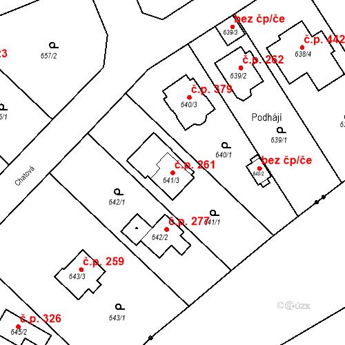 Katastrální mapa Stavební objekt Radobyčice 261, Plzeň