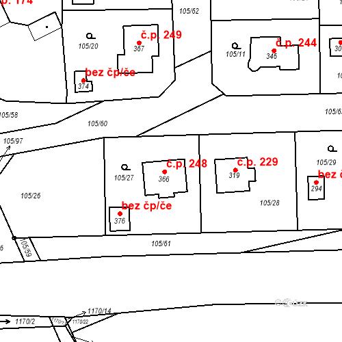 Katastrální mapa Stavební objekt Hrádek 248, Hrádek