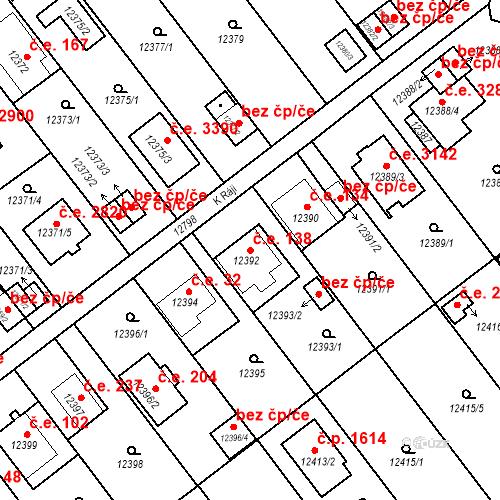 Katastrální mapa Stavební objekt Severní Předměstí 138, Plzeň