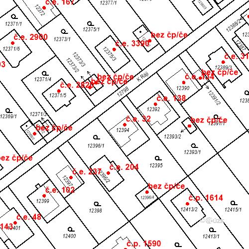 Katastrální mapa Stavební objekt Severní Předměstí 32, Plzeň