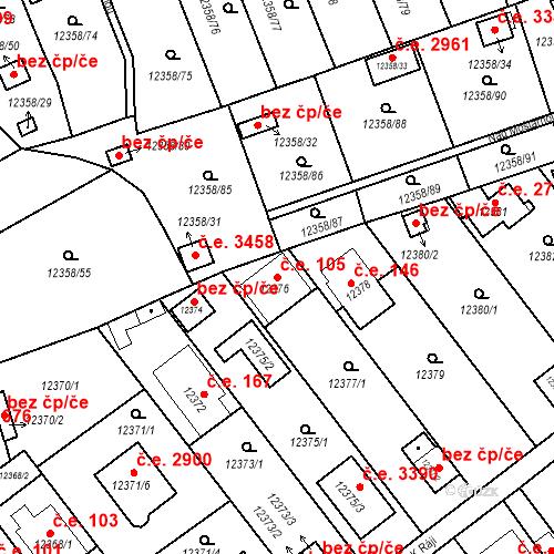 Katastrální mapa Stavební objekt Severní Předměstí 105, Plzeň