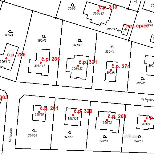 Katastrální mapa Stavební objekt Záluží 321, Třemošná