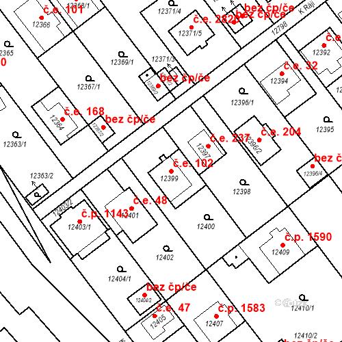 Katastrální mapa Stavební objekt Severní Předměstí 102, Plzeň
